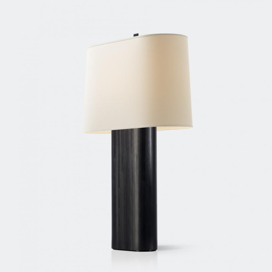 Marlowe Table Lamp, Ebony Straw Marquetry with Aquarelle Shade