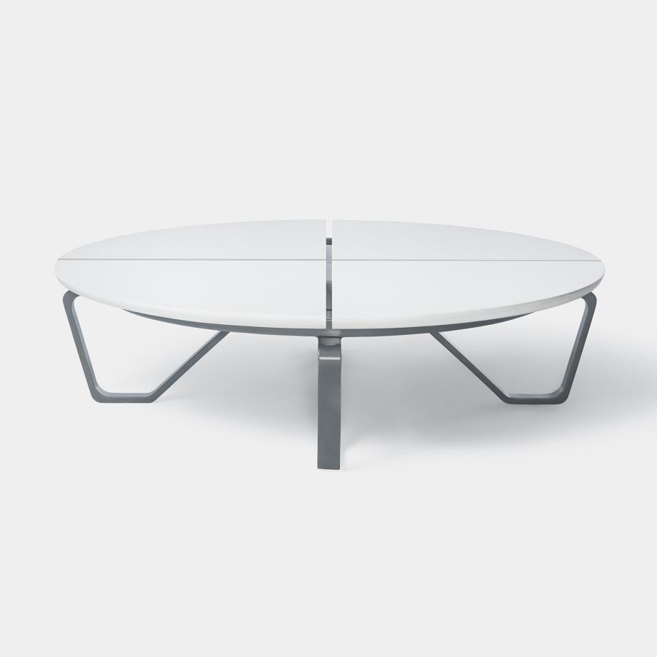 Meduse Round Cocktail Table, Arctic Stone Top, Oyster Frame
