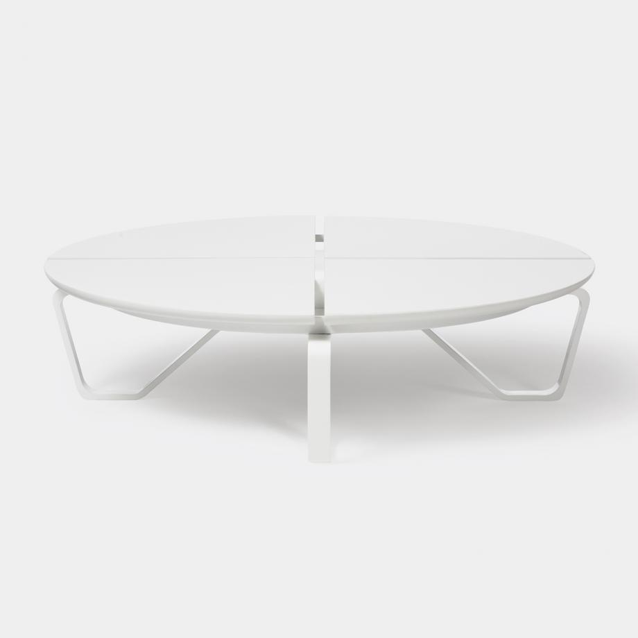 Meduse Round Cocktail Table, Arctic Stone Top, Pearl Frame