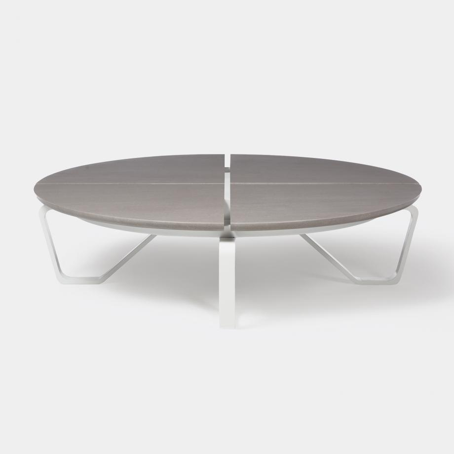 Meduse Round Cocktail Table, Belgium Fog Stone Top, Pearl Frame