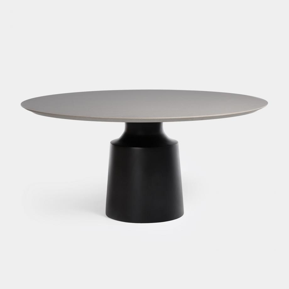 Peso Dining Table - Outdoor, Sz 2, Belgium Fog Stone Top, Abyss Black Base