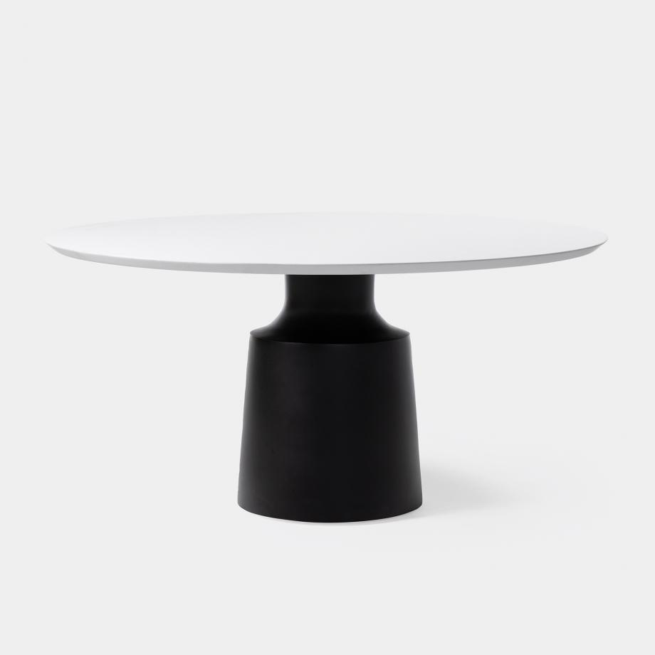 Peso Dining Table - Outdoor, Sz 2, Pure White Stone Top, Abyss Black Base