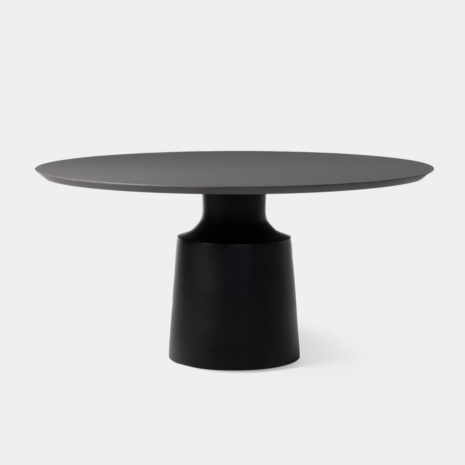 Peso Dining Table - Outdoor, Sz 2, Cobalt Grey Stone Top, Abyss Black Base