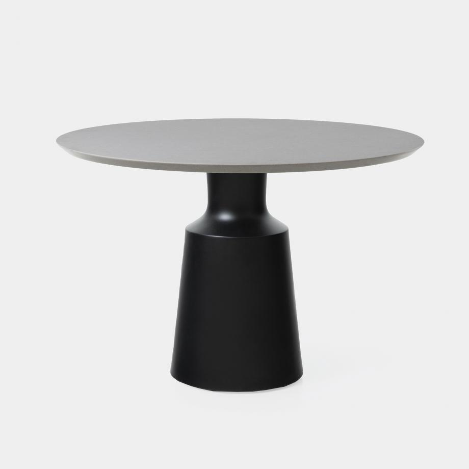 Outdoor Peso Dining Table Sz 1, Belgium Fog Top, Abyss Black Base