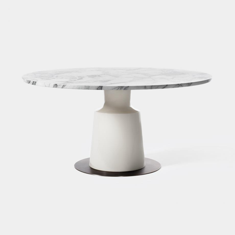 "Peso Dining Table Stone Lacquer Base, 60"" Arabescato Honed Stone Top"