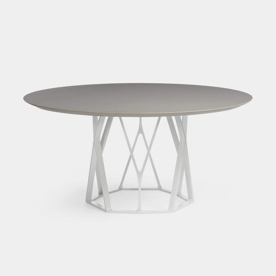 Reef Dining Table, Sz 1, Belgium Fog Stone Top, Pearl Frame
